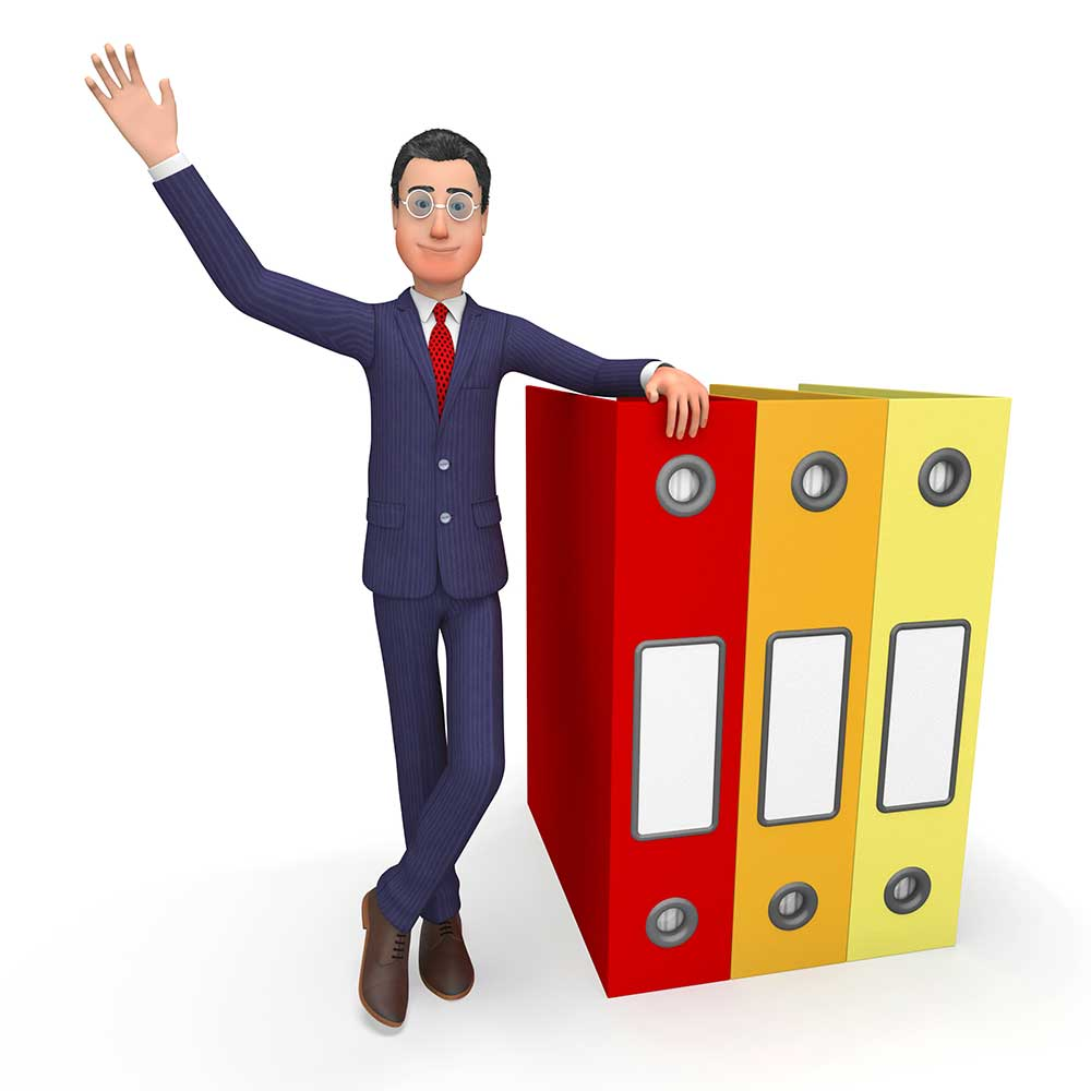 cartoon image of an addiction professional leaning on folders - what is an addiction  professional?  Learn from Hired Power Recovery Assistance Services in Southern California, serving the US