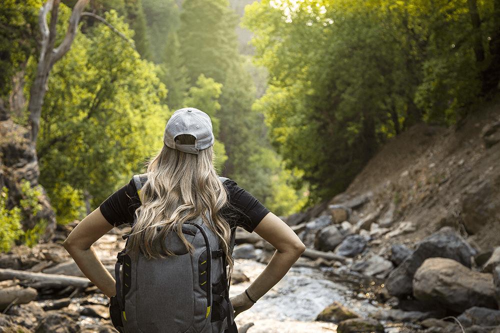 woman on a hike